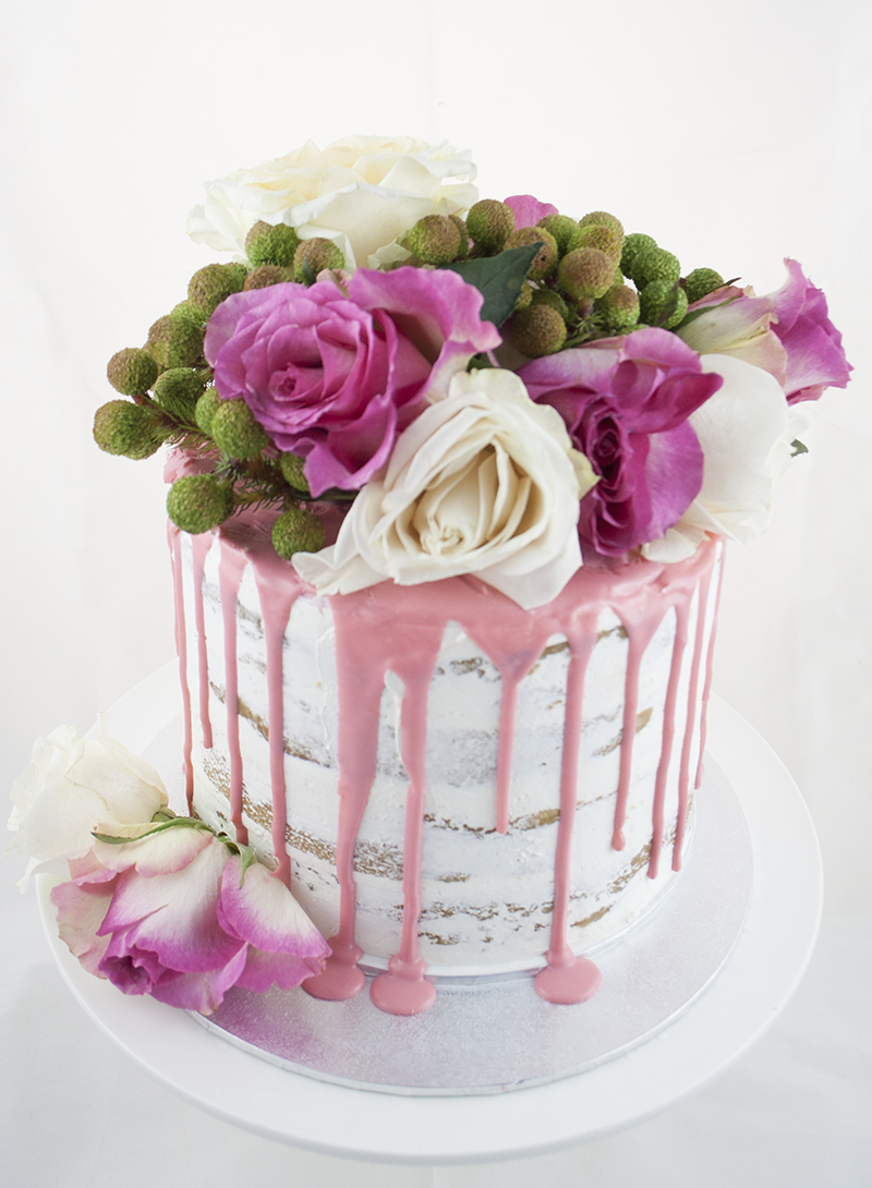 Birthday Cake Decorating With Fresh Flowers Image Inspiration of